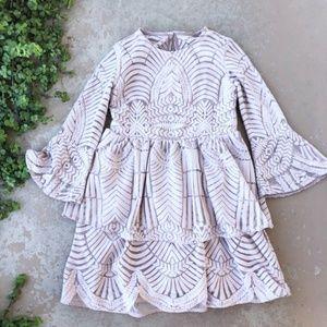 Bardot Junior's Embroidered Tiered LS Dress